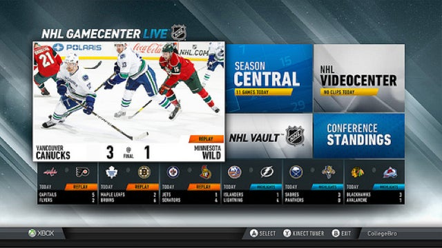 Lockout Over, NHL GameCenter Takes to the Ice on Xbox Live