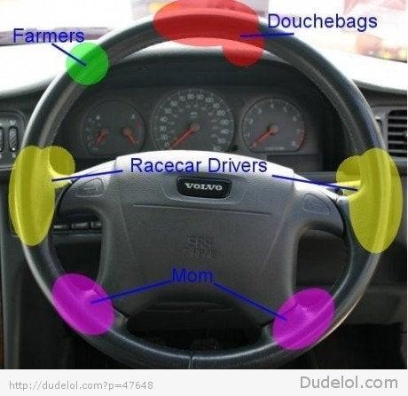 Ok, oppo: Where do you hold your steering wheel?
