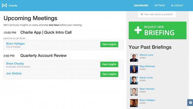 Charlie Preps You for Events by Briefing You on Who You'll Meet