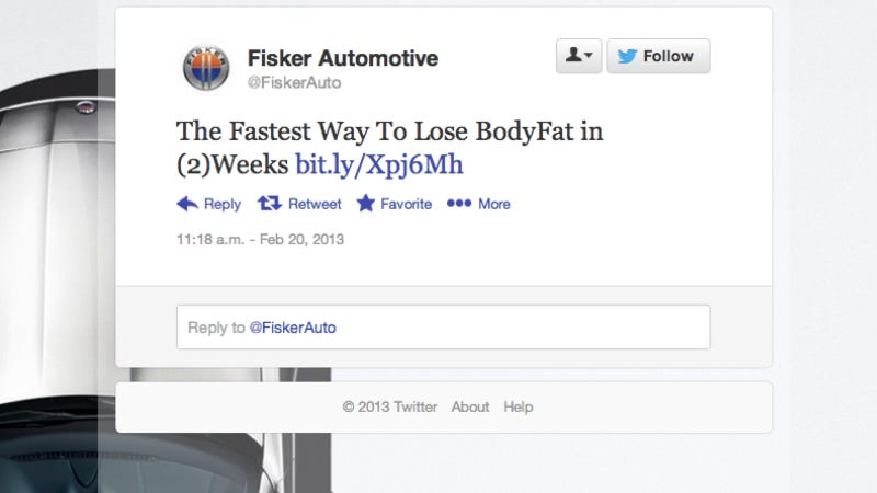 Hacked Fisker Twitter Account Thinks You Need To Lose Some Weight (Updated)