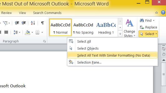 Select All Text with the Same Formatting in Microsoft Word