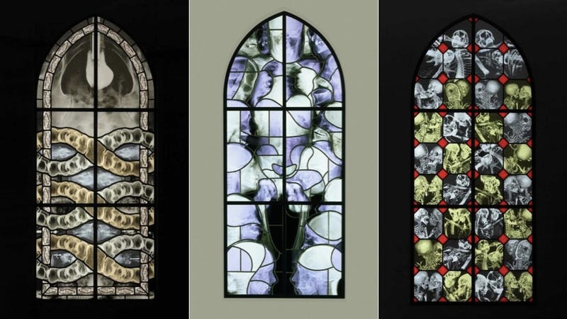 Stained glass windows filled with macabre X-ray images