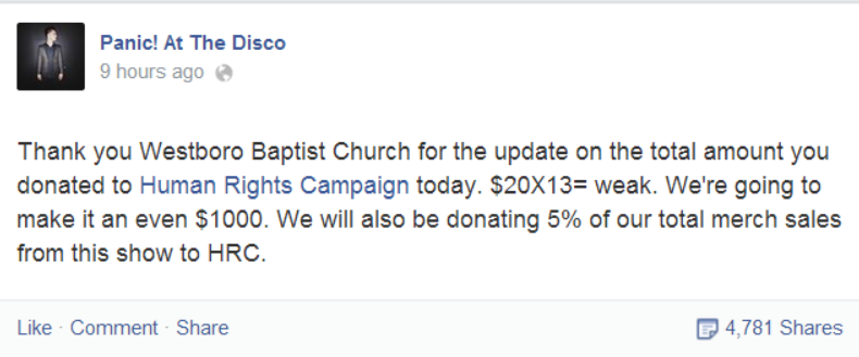 Panic! At the Disco Trolls Westboro Church in Best Way Possible