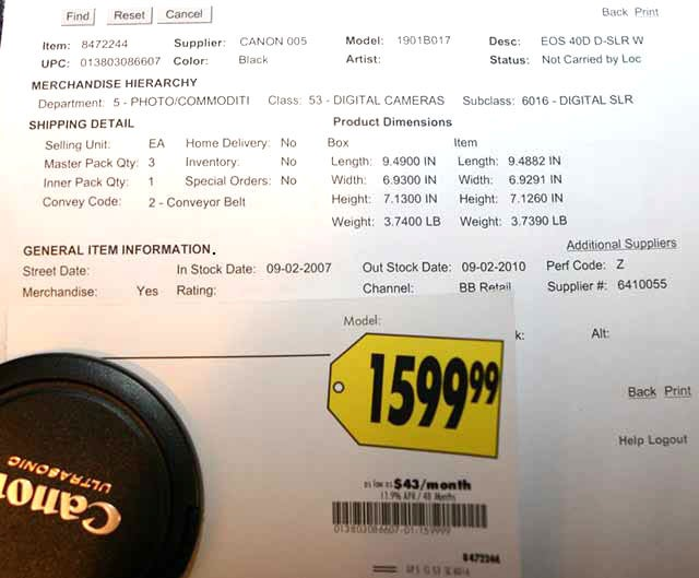 Canon EOS 40D Digital SLR Pricing Leaked?