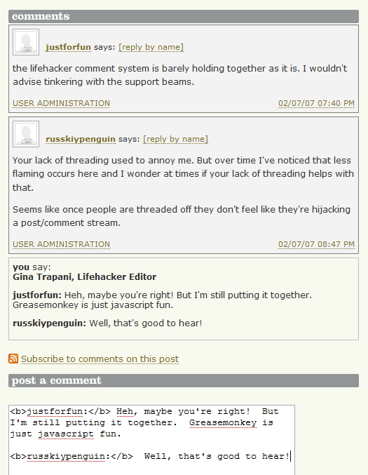 Lifehacker Code: Reply with Commenter Name Greasemonkey script