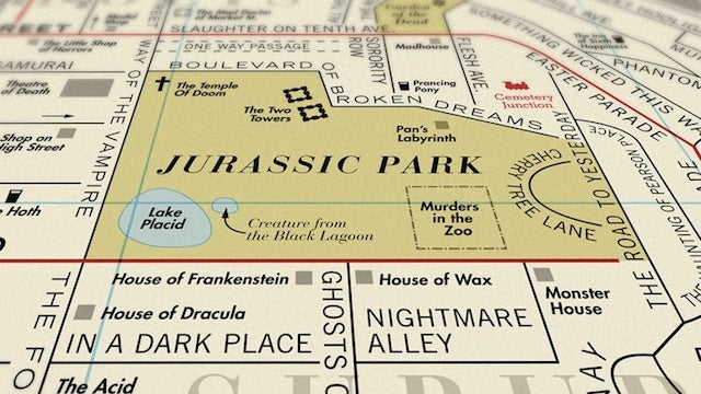 Lake Placid and Pan's Labyrinth sit inside Jurassic Park according to this massive movie title map