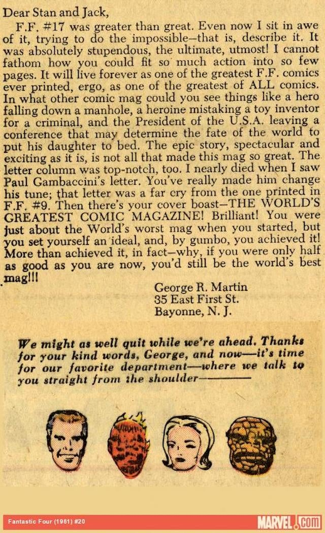 Read George R. R. Martin's 1963 Letter To Stan Lee and Jack Kirby
