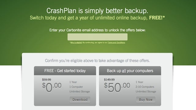 Get a Year of Unlimited Backups from CrashPlan for Free