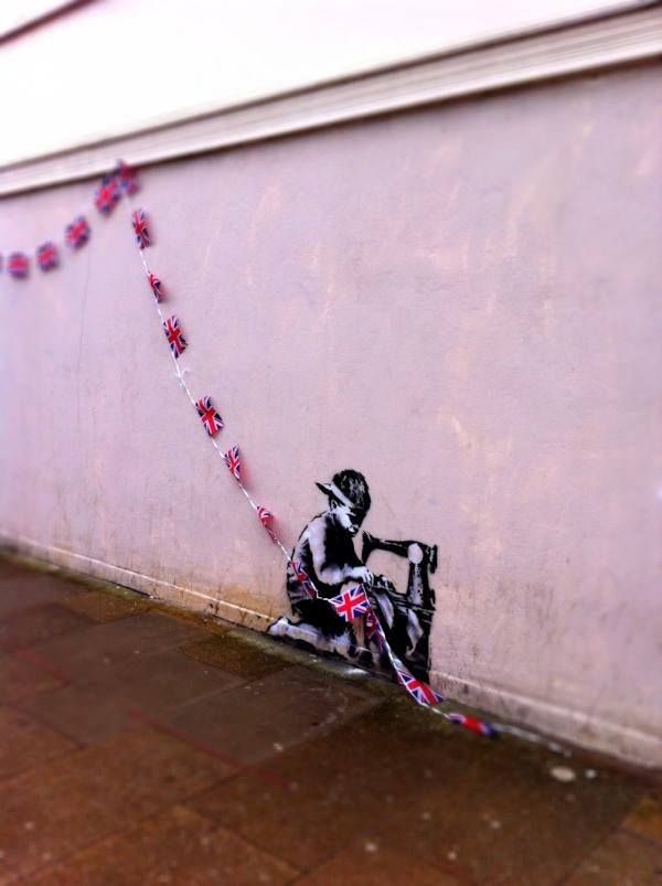 Banksy Celebrates Queen's Diamond Jubilee with Critical Multimedia Wall Piece