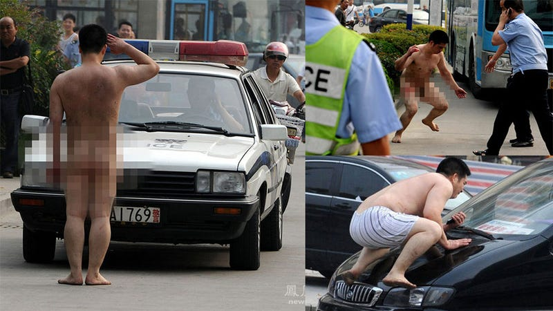 Naked Chinese Man Attacks Cars in a Road Rampage