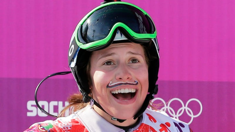 Czech Woman Wins Snowboarding Gold in Patriotic Fake Mustache