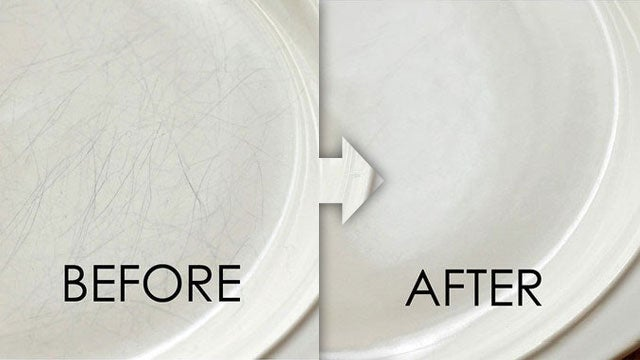 Remove Ugly Scratches from Dinnerware with Bar Keeper's Friend