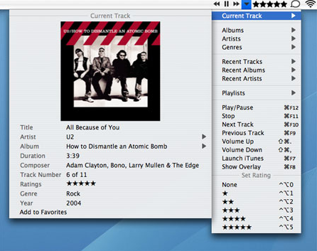 Control iTunes from the menubar with You Control: Tunes