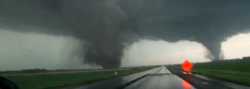 Raw video: Massive twin tornadoes touch down simultaneously in Nebraska