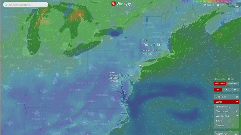 Windyty Is an Interactive Weather and Wind Map with Very Precise Data