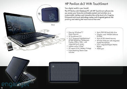 HP Pavilion dv3 with 13.3-inch Multi-touch Screen Shows up in Leaked HP Catalog