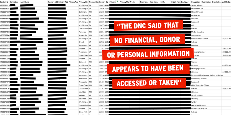 Contrary to DNC Claim, Hacked Data Contains a Ton of Personal Donor Information