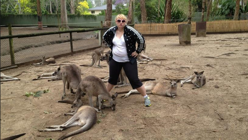 Australian Rebel Wilson Hangs Out With Australian Kangaroos in Australia