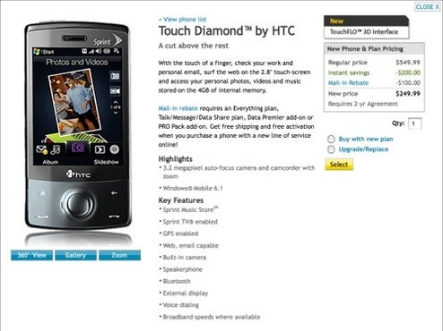 Sprint HTC Touch Diamond Now Available Online