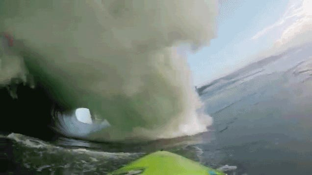 Getting hit by a 25-foot wave is like being inside a water tornado