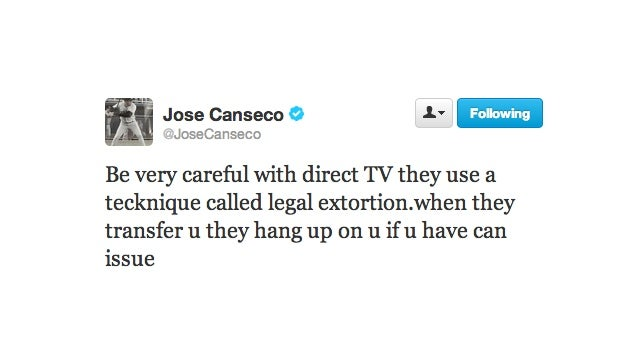 Jose Canseco Thinks Direct TV is Using a 'Tecknique' Called Legal Extortion