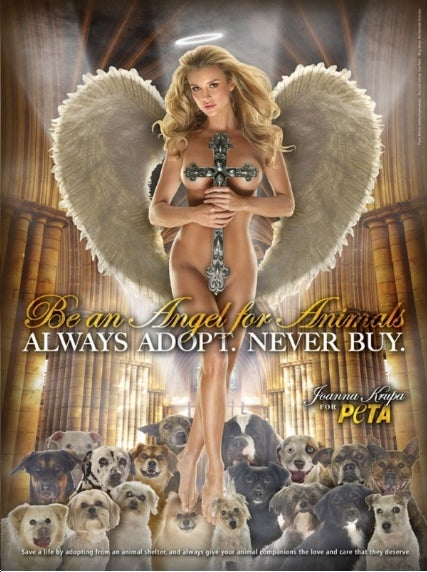 Perv Dogs Support Nude Angel, From PETA