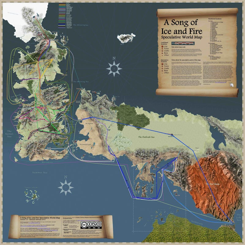 This Spoiler-Filled map tracks the travels of every major character from A Song of Ice and Fire!
