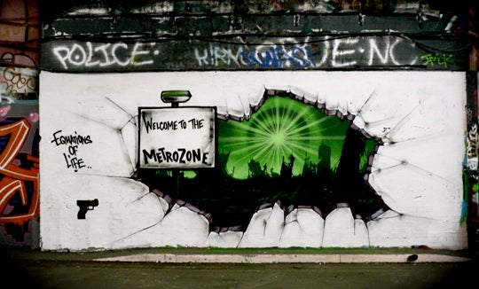 British science fiction book graffiti
