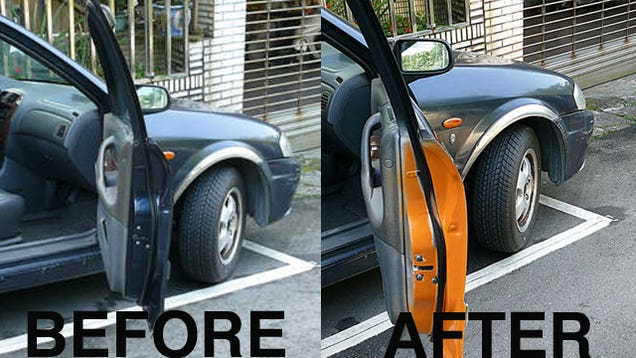paint a warning strip on the inside of your car door to prevent. Black Bedroom Furniture Sets. Home Design Ideas
