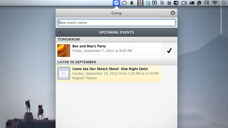 Going Manages Your Facebook Events from Your Mac's Menu bar, Syncs with iCal