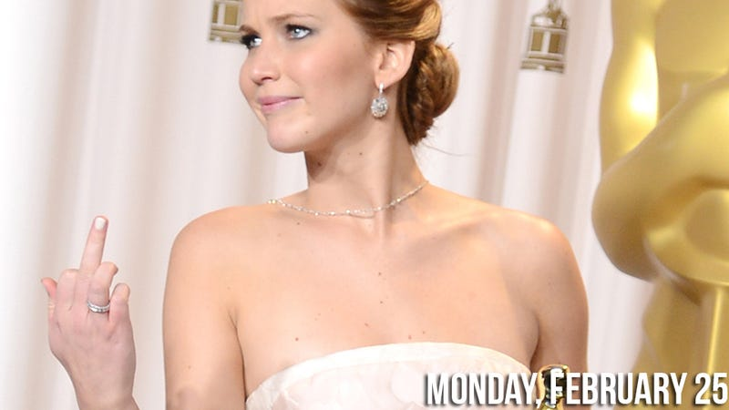 Jennifer Lawrence Flips Off the Press Room and More Gossip from the Oscars