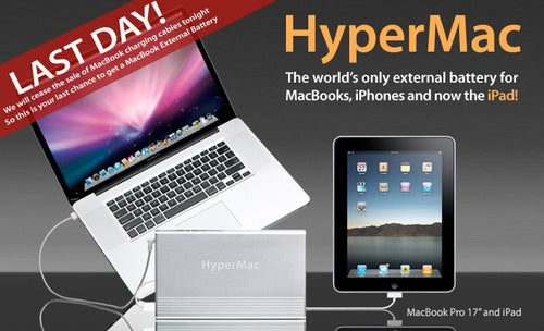 Last Day to Buy HyperMac's External MacBook Batteries (With Cords)