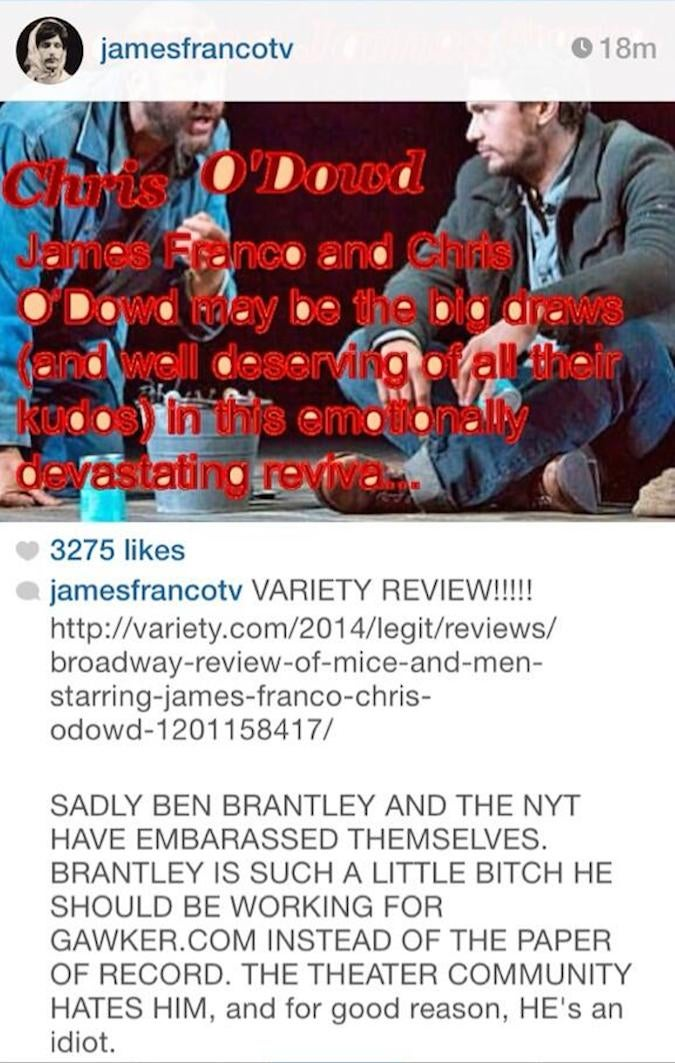 "James Franco Calls New York Times Theatre Critic a ""Little Bitch"""