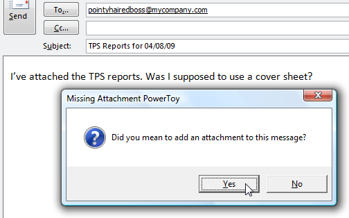 Missing Attachment Powertoy Reminds You to Attach Files