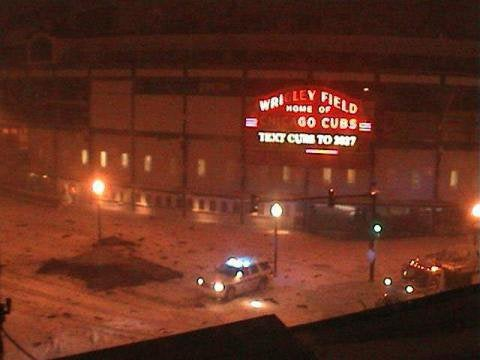 Wrigley Field Roof Damaged By Tonight's Blizzard