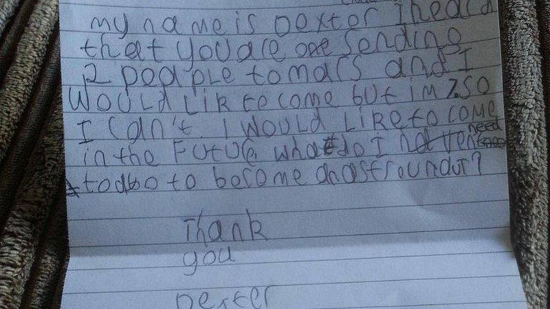 NASA responds to a seven-year-old's request to go to Mars