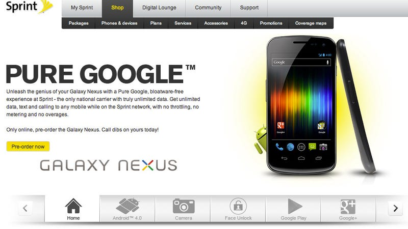 Sprint's Galaxy Nexus Will Launch Next Week for $100 Less Than Verizon Model