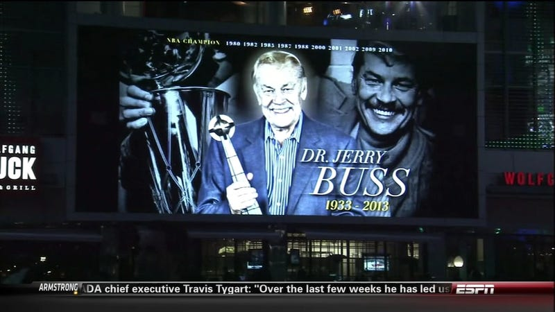 "The Lakers Set Their Pregame Jerry Buss Tribute To The Song ""Good Riddance"""
