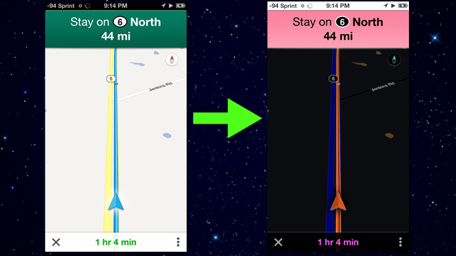 Invert Your Phone's Colors For Nighttime Navigation