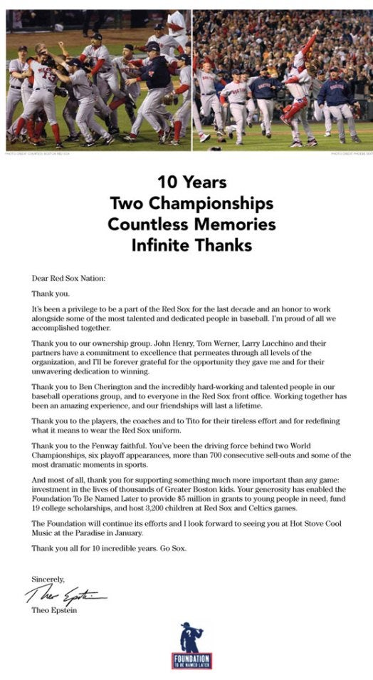 Theo Epstein's Full-Page Ad Thanks Everyone In Boston, Even Larry Lucchino