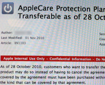 AppleCare Warranties Now Transferable to New Purchases