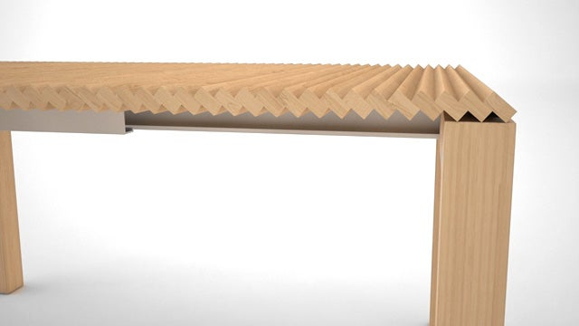 Extendable Table Grows and Shrinks Without Swapping a Single Part