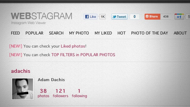 Webstagram Is Instagram's Missing Web Interface