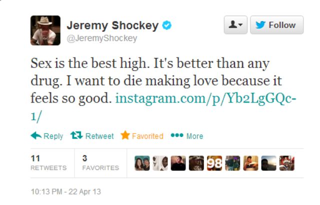 Jeremy Shockey Wants To Sex You And Then Die
