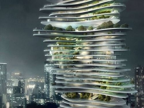 A Forest-Filled Jenga Tower Grows in China