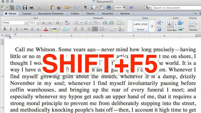 Jump Between Edits in Word with Shift+F5
