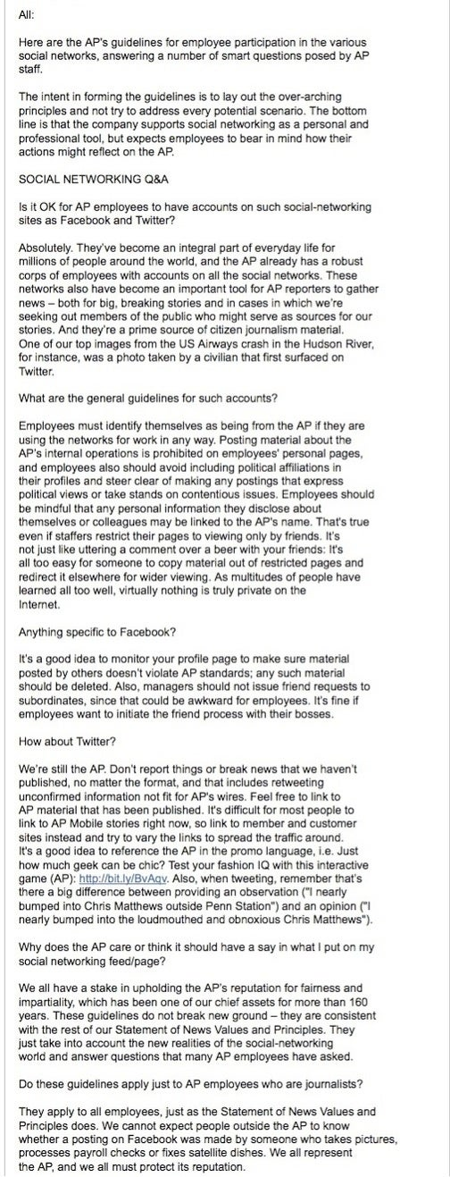 AP Tells Reporters To Muzzle Facebook Friends