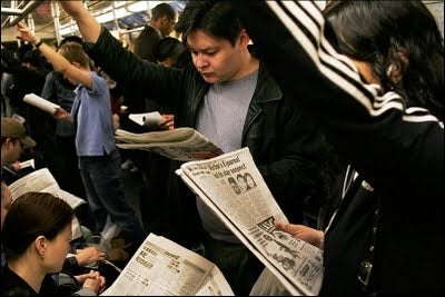 New York Times Readers' Subway Reading: Exactly What You Would Guess