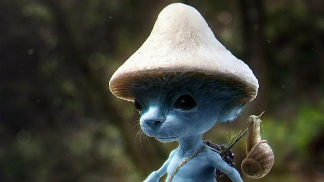 Stare into the cold, black eyes of a real-life Smurf