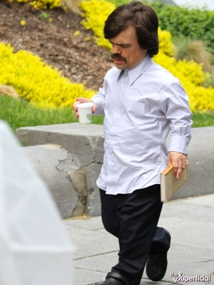 Peter Dinklage sports a '70s mustache on the set of X-Men